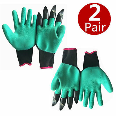 2 Pairs Garden GENIE Gloves For Digging Planting Raking Quick Easy Way to Garden