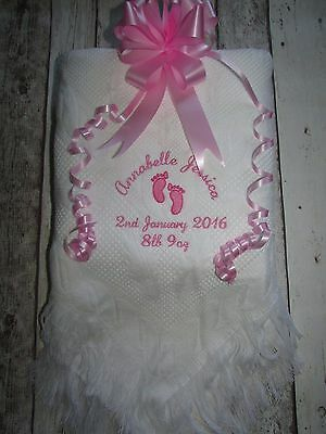 Personalised Baby Blanket Shawl Baby Footprints Embroidered Boys Girls Gift
