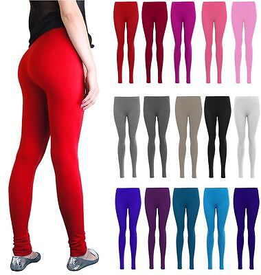 New Womens Ladies Plain Lycra Long Stretch Jersy Coloured Leggings Uk Size 8-24