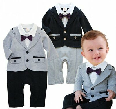 Baby Toddler Boy Wedding Tuxedo Formal Party Suit Outfits Clothes Size 0 1 2
