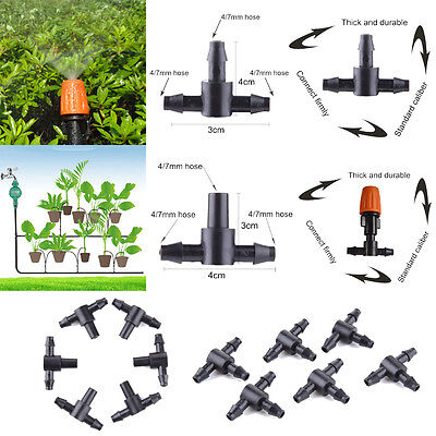 20/50pcs 4/7 mm Tee Pipe Shunt Tube Sprinkler Irrigation Drip Irrigation System