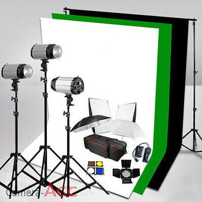 750W Studio Flash Lighting Kit Photo Background Stand 3 Backdrop Set 3x250W