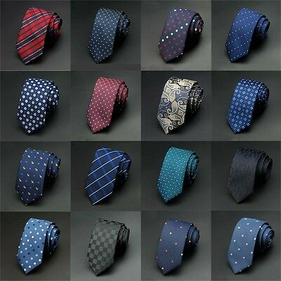 Fashion Men's Jacquard Woven Tie Skinny Slim Wedding 100% Silk Narrow Necktie