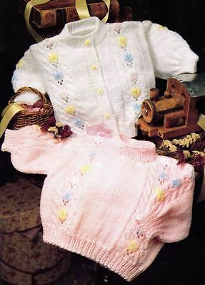Knitting Pattern Baby's Sweet Embroidered Daisy Cardigan & Sweater 41-46 cm (94)