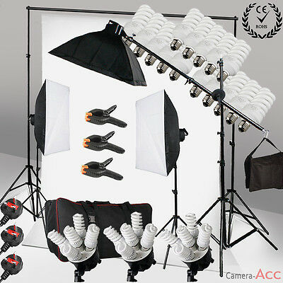 Photo 2850W Continuous Lighting Softbox Boom arm Kit White Background Stand Set