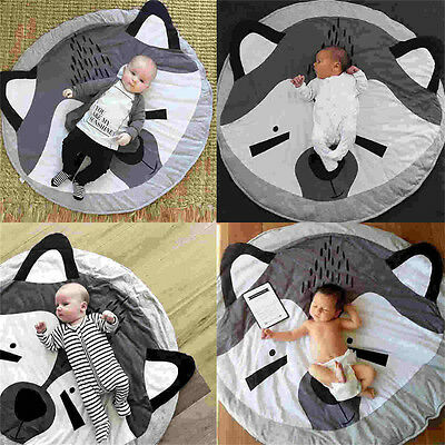 Cotton Kids Baby Infant Play Crawl Game Cartoon Mat Round Carpet Home Blanket SP