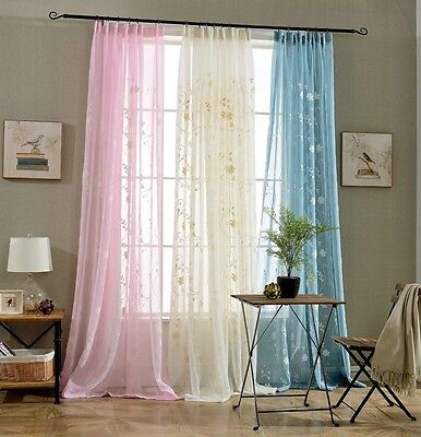 Romantic Embroidered Voile Curtains for Living Room, Bedroom, Kitchen, Kids