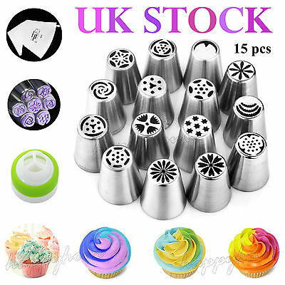 15pcs Big Flower Stainless Steel Icing Piping Nozzles Cake Baking Tool