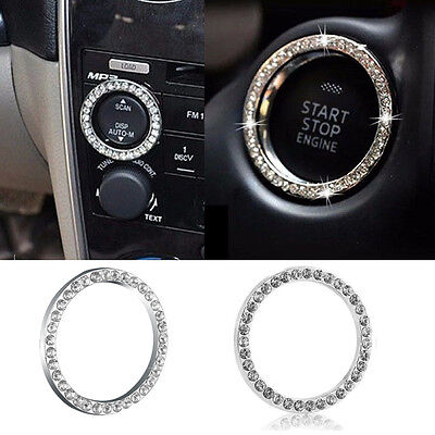 Car SUV Bling Decorative Accessories Button Start Switch Silver Diamond Ring Hot