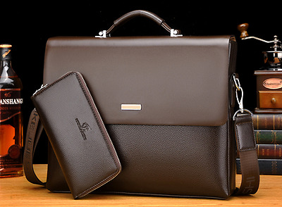 2017 New Business Mens Leather Briefcase Bag Handbag Laptop Shoulder Bag