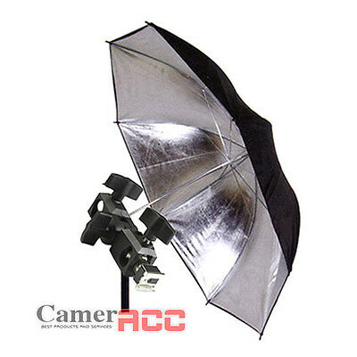 Photo Studio Reflector Umbrella w/ Flash Shoe Holder Swivel Light Stand Bracket