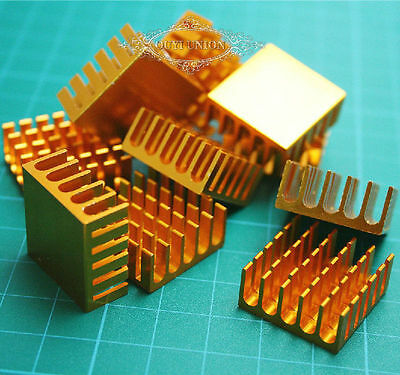100pcs x Heat Sink Chip 22*22*10mm Aluminum for LED IC Power Transistor Golden