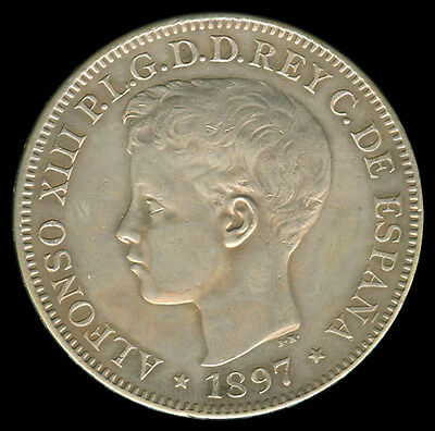 1897 Alfonso XIII UN Peso Spain / Spanish Philippines Silver Coin Km#154 - A8