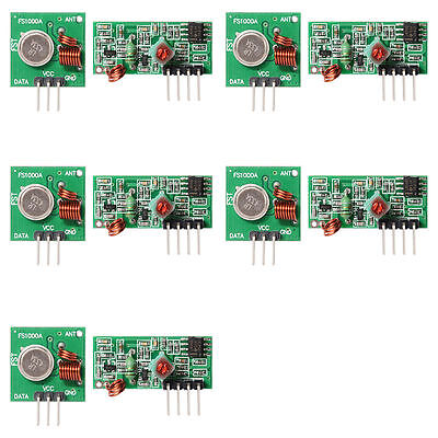 5 PCS 433Mhz RF Transmitter Module+Receiver Kit for Arduino ARM MCU WL TE122