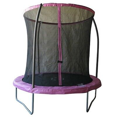 Pink 8ft Trampoline and Safety Net Enclosure & Padding, Outdoor Garden Activity