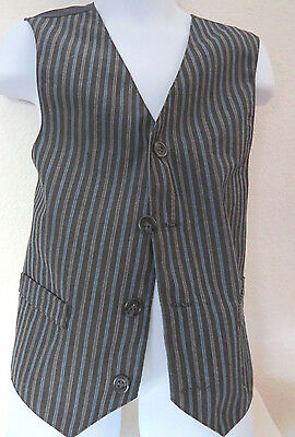 Sz 7 Gray/Blue/White Pinstripe Polyester #180 BOYS Indie Suit Vest Waistcoat
