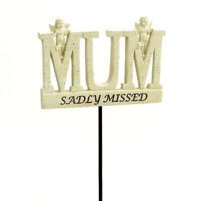 Sadly Missed Mum Angel Memorial Tribute Stick Graveside Plaque