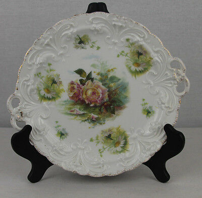 Antique German Rosenthal Cake plate with handles - Hand Painted Roses