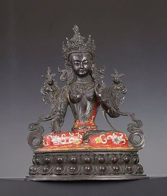 Superb Rare Vintage Chinese Old Handmade Buddha Seated Bronze Statue AA028