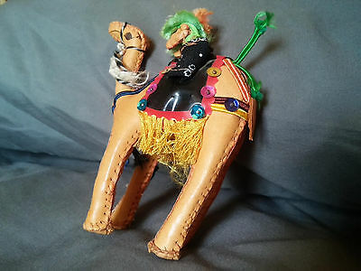 """Vintage HAND STITCHED LEATHER CAMEL FIGURINE With Rider - 5"""""""