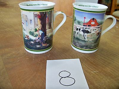 "2 John Deere Little Farmhands Collector Mugs ""Tender loving care & Tug o' War"""