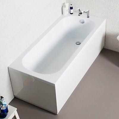 Single Ended Straight Modern Bath Tub Drilled Tap Holes Uk Made White Acrylic