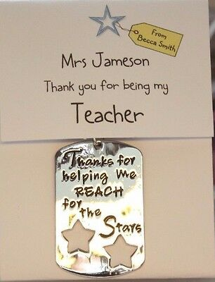 Personalised Bag Charm/Keyring TEACHER or ASSISTANT THANK YOU GIFT reach stars
