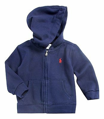 RALPH LAUREN baby boy fleece HOODIE 9/12M navy full zip (80cm) BNWT