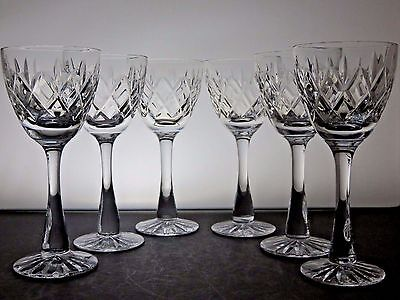 Webb Corbett Crystal Cliften  Cut Glass Hock Wine Glasses Set Of 6