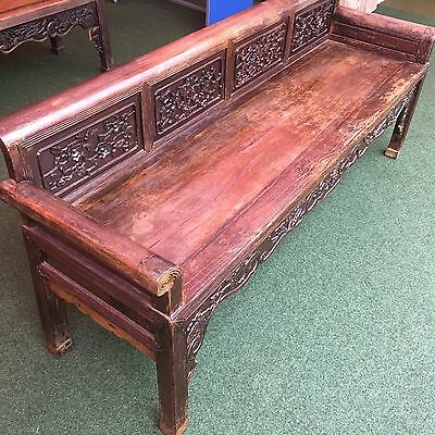 A Large 19th Century Chinese Wooden Long Bench Seat, Qing Dynasty