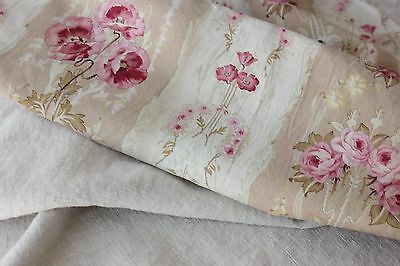 Antique French fabric vintage material PROJECT scraps patchwork old quilting