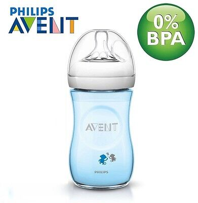 Philips Avent 260ml Natural Baby Boy Feeding Bottle, Blue, BPA Free, Slow Flow