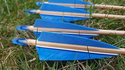"36 Sky Blue 4"" Shield Feathers for traditional arrows - RIGHT WING"