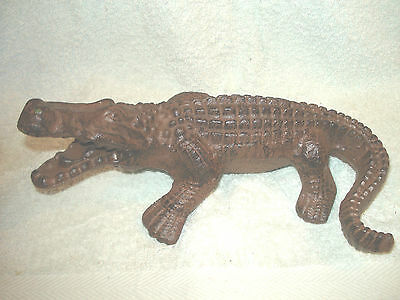 Heavy Cast Iron Croc0Dile Doorstop Nice  Rustic Aged Finish 10'' X 6'' 4.75''