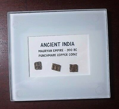 Ancient Copper Punchmark Coins From Mauryan Empire Of India 300 BC - 3 Specimens
