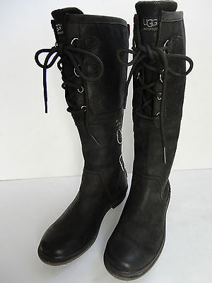 UGG Australia Elsa Black Leather Lace Up Riding Winter Womens Boots Size 7 New!