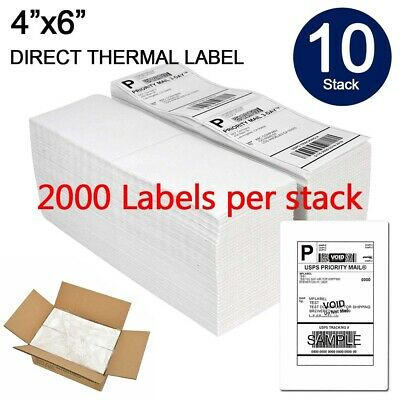 "20000 Fanfold 4"" x 6"" Direct Thermal Labels. Shipping / Barcode Labels Zebra UPS"