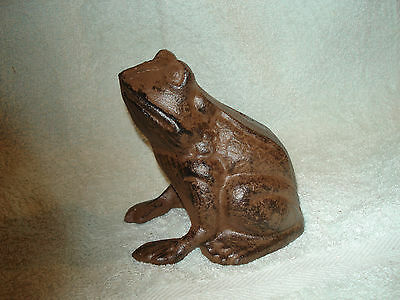 Cast Iron Sitting  Frog Doorstop Nice Brown Antiqued  Finish 5'' X 5''