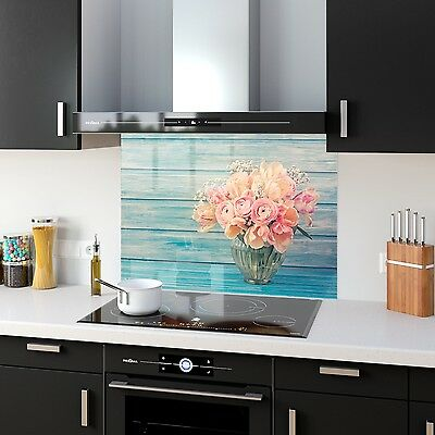 Kitchen Splashback Toughened Glass Heat Resistant Pink Flowers 32574855 90x65cm