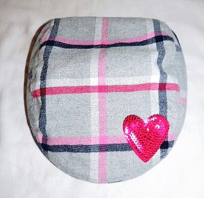 NEW GYMBOREE Brightest In Class Gray Plaid Beret Hat w/ Pink Sequin Heart 5 6 7