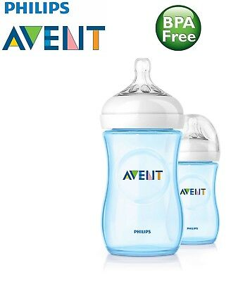 Philips Avent Natural Feeding Bottle Pack of 2 x 260ml / 9oz  SCF695/27 - Blue