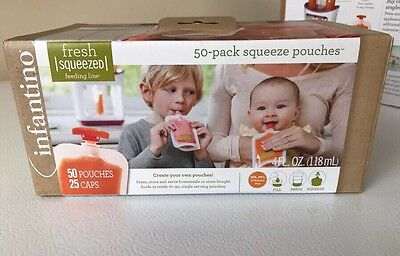 50 Squeeze Pouches Infantino w/50 Lids! Fresh Baby Food Station Feeding Puree