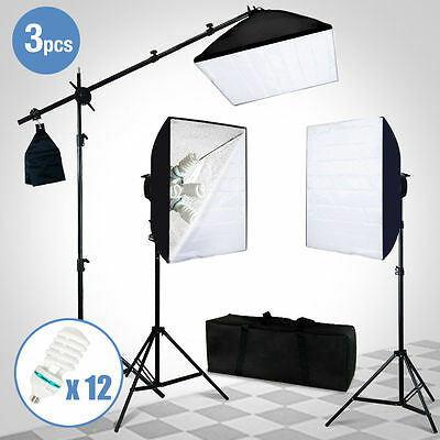 Photo Studio Photography 3 Softbox Light Stand Continuous Lighting Kit 2400W NEW