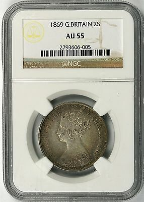 1869 Great Britain Silver One Florin 2 Shillings NGC AU55