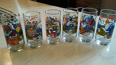 Vintage 1983 Set of 6 Smurf glasses- Collectible
