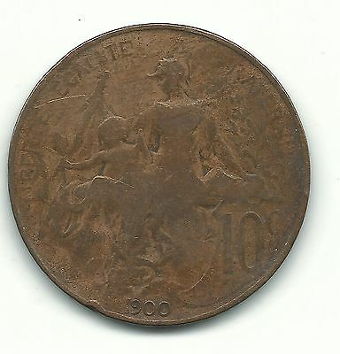 A Vintage Very Nice 1900 France French 10 Centimes Coin-Jun070
