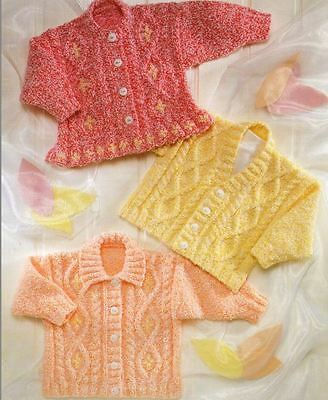 Knitting Pattern Baby/Girl's DK Cardigans - 3 Styles 3 months - 8 years (95)