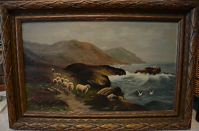 Large Antique Oil Painting on Canvas Sheep Seascape Artist Signed 1919