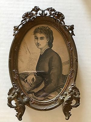 Antique Vintage Flowers Brass  Metal Oval Small Picture Frame Victorian Rare