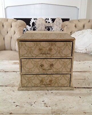 Antique French Fabric 3 Drawer Boudoir Dresser Box Filled w/ Lace